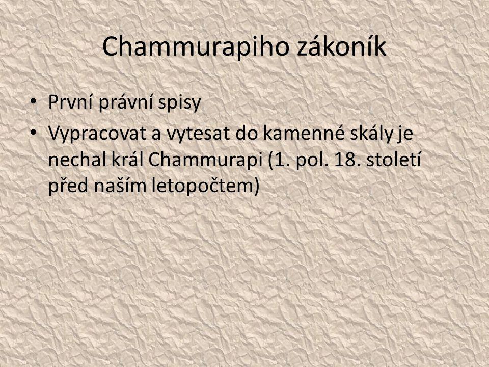 Chammurapiho zákoník První právní spisy
