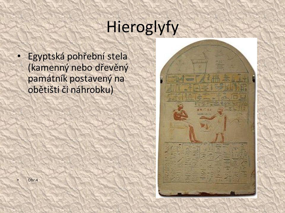 Hieroglyfy Egyptská pohřební stela (kamenný nebo dřevěný památník postavený na obětišti či náhrobku)