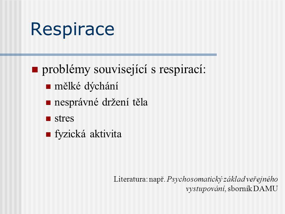 Respirace problémy související s respirací: mělké dýchání