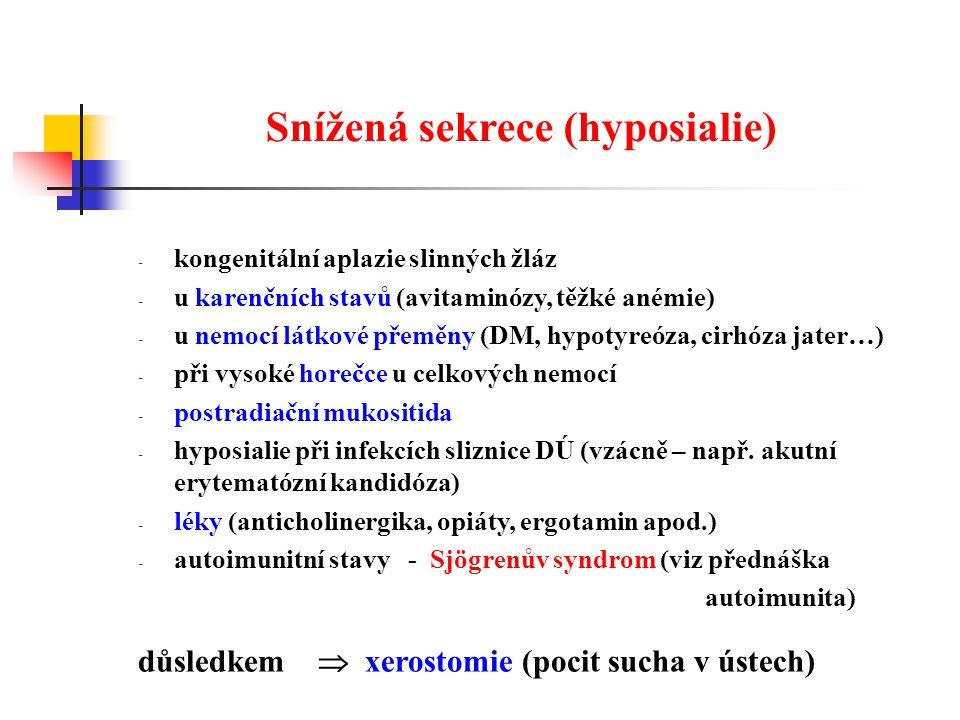 Snížená sekrece (hyposialie)