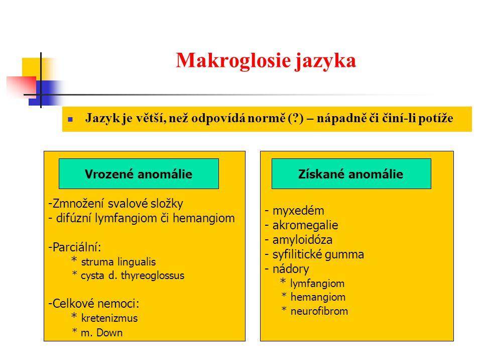 Makroglosie jazyka Jazyk je větší, než odpovídá normě ( ) – nápadně či činí-li potíže. Zmnožení svalové složky.