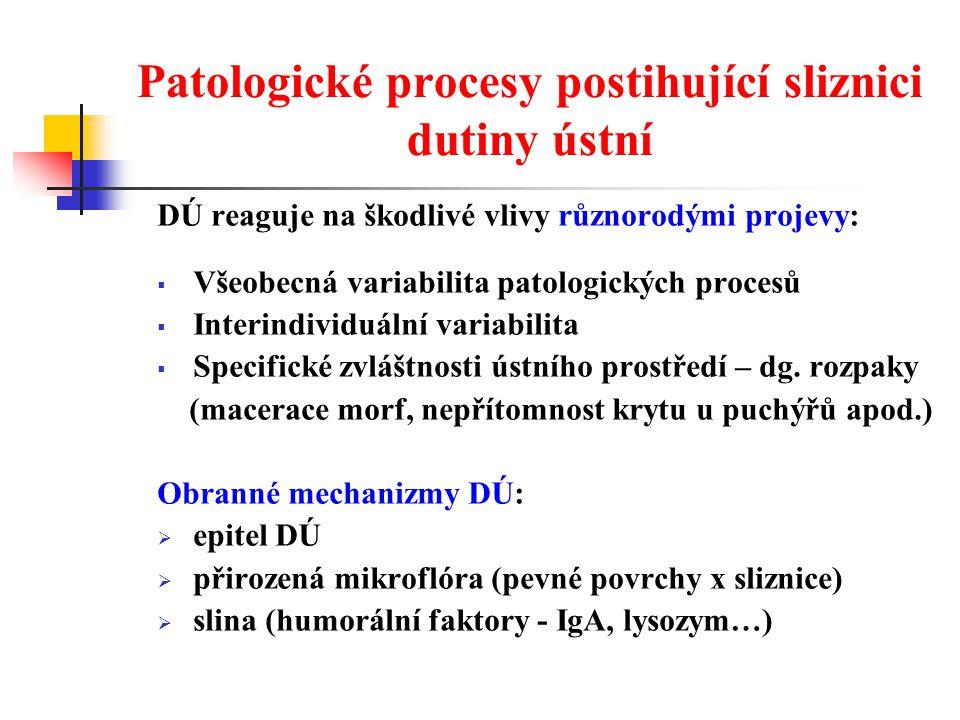 Patologické procesy postihující sliznici dutiny ústní