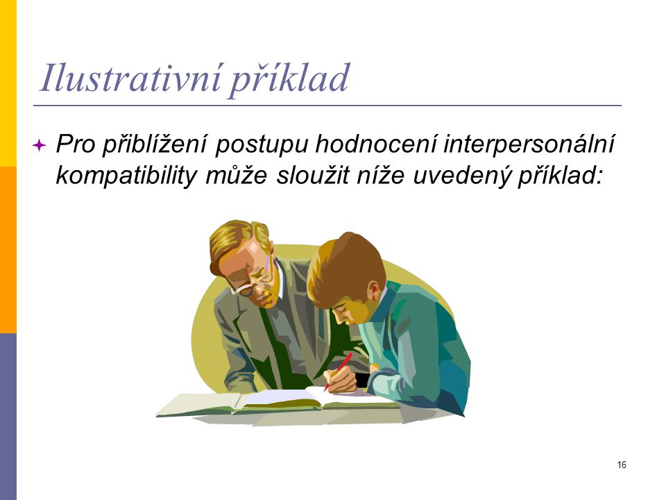 Ilustrativní příklad Pro přiblížení postupu hodnocení interpersonální kompatibility může sloužit níže uvedený příklad: