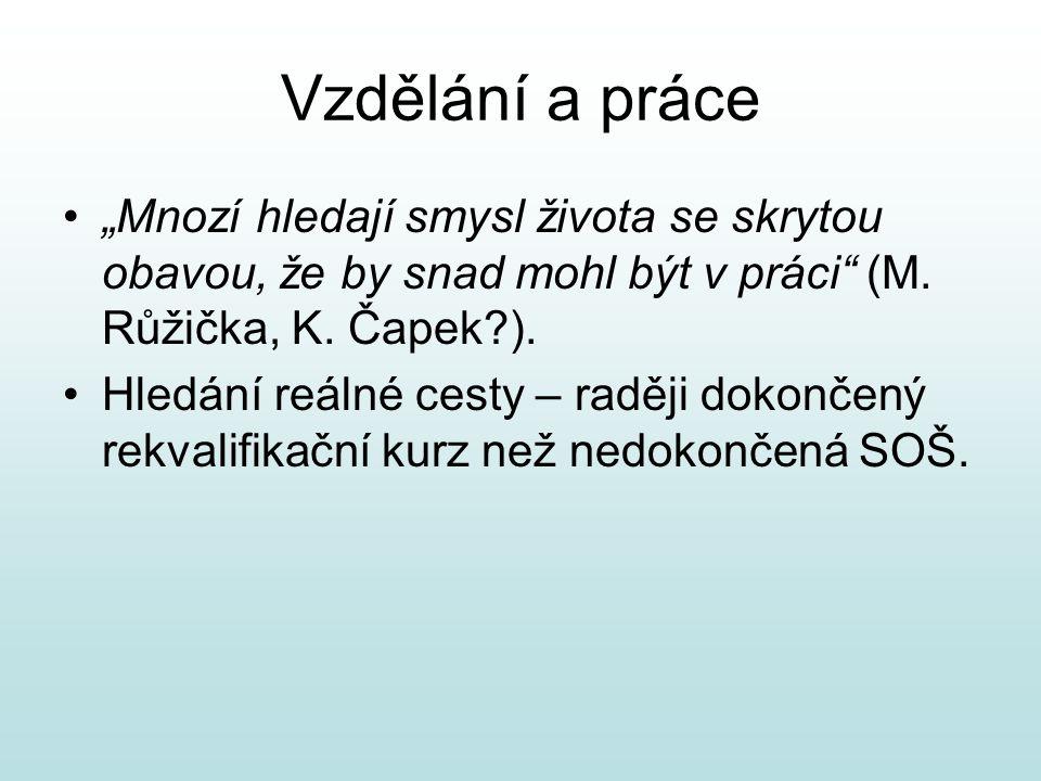 """Vzdělání a práce """"Mnozí hledají smysl života se skrytou obavou, že by snad mohl být v práci (M. Růžička, K. Čapek )."""