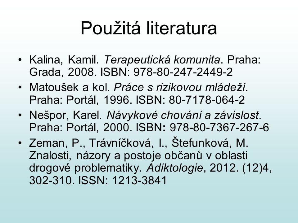 Použitá literatura Kalina, Kamil. Terapeutická komunita. Praha: Grada, 2008. ISBN: 978-80-247-2449-2.
