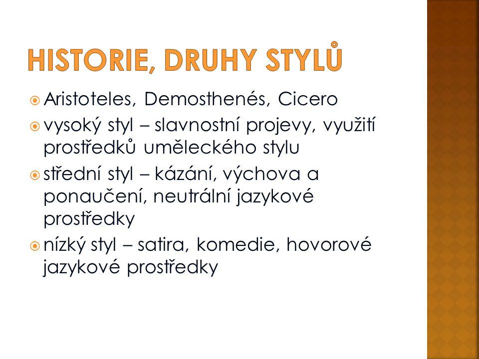 Historie, druhy stylů Aristoteles, Demosthenés, Cicero