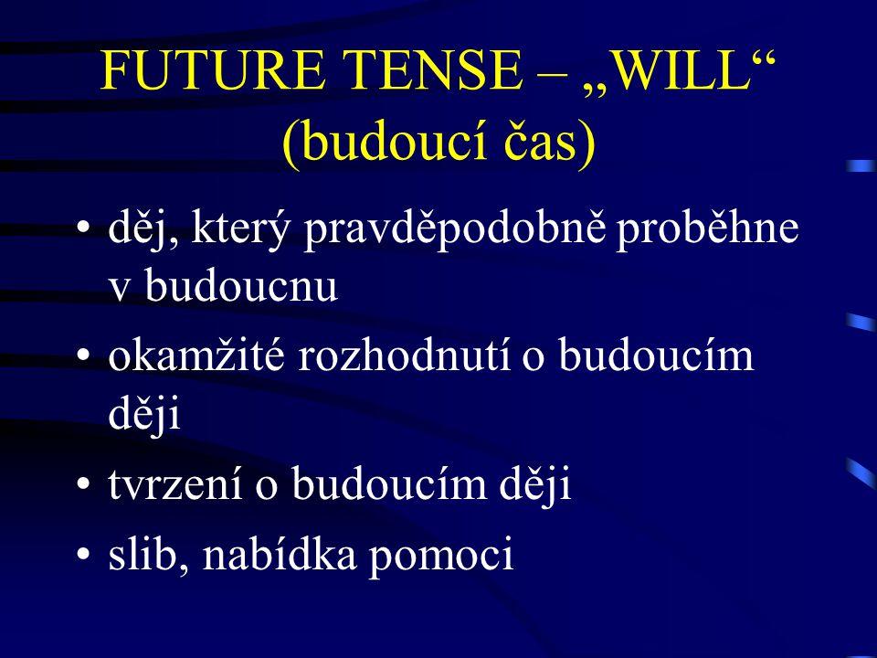 """FUTURE TENSE – """"WILL (budoucí čas)"""