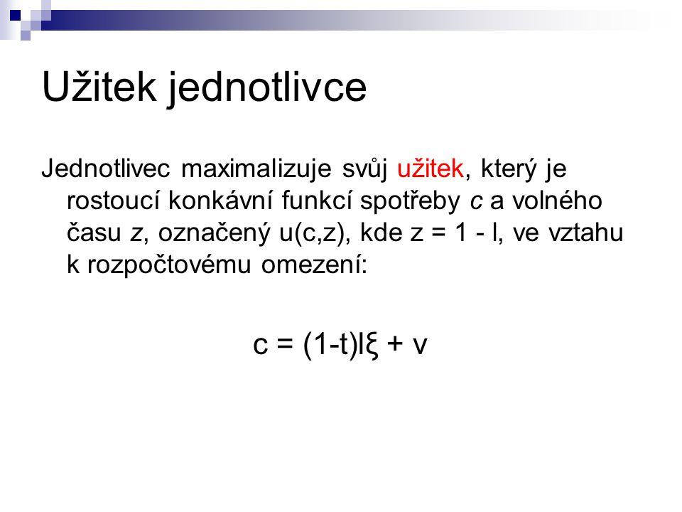 Užitek jednotlivce c = (1-t)lξ + v