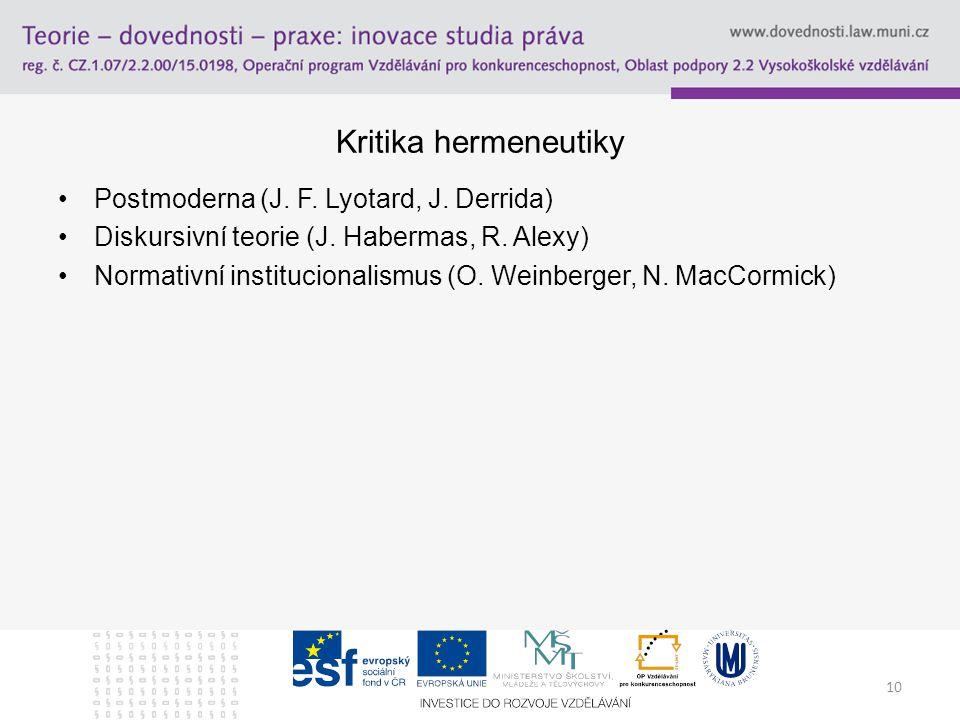 Kritika hermeneutiky Postmoderna (J. F. Lyotard, J. Derrida)