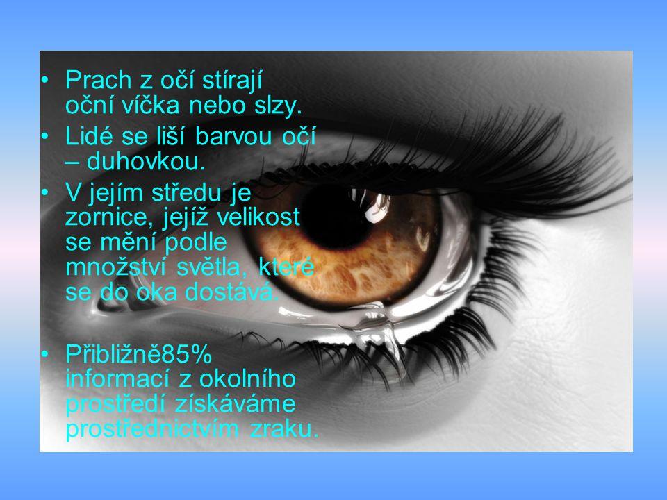Prach z očí stírají oční víčka nebo slzy.