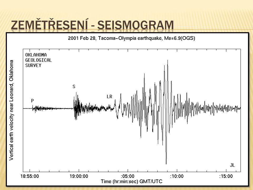 Zemětřesení - seismogram