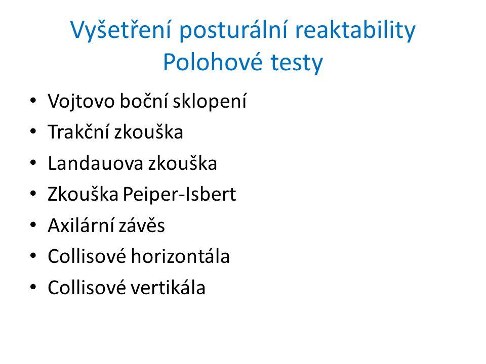 Vyšetření posturální reaktability Polohové testy