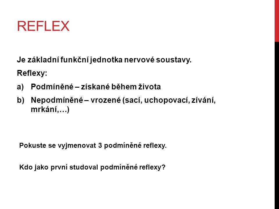 reflex Je základní funkční jednotka nervové soustavy. Reflexy: