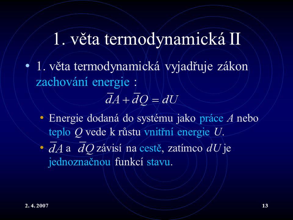 1. věta termodynamická II