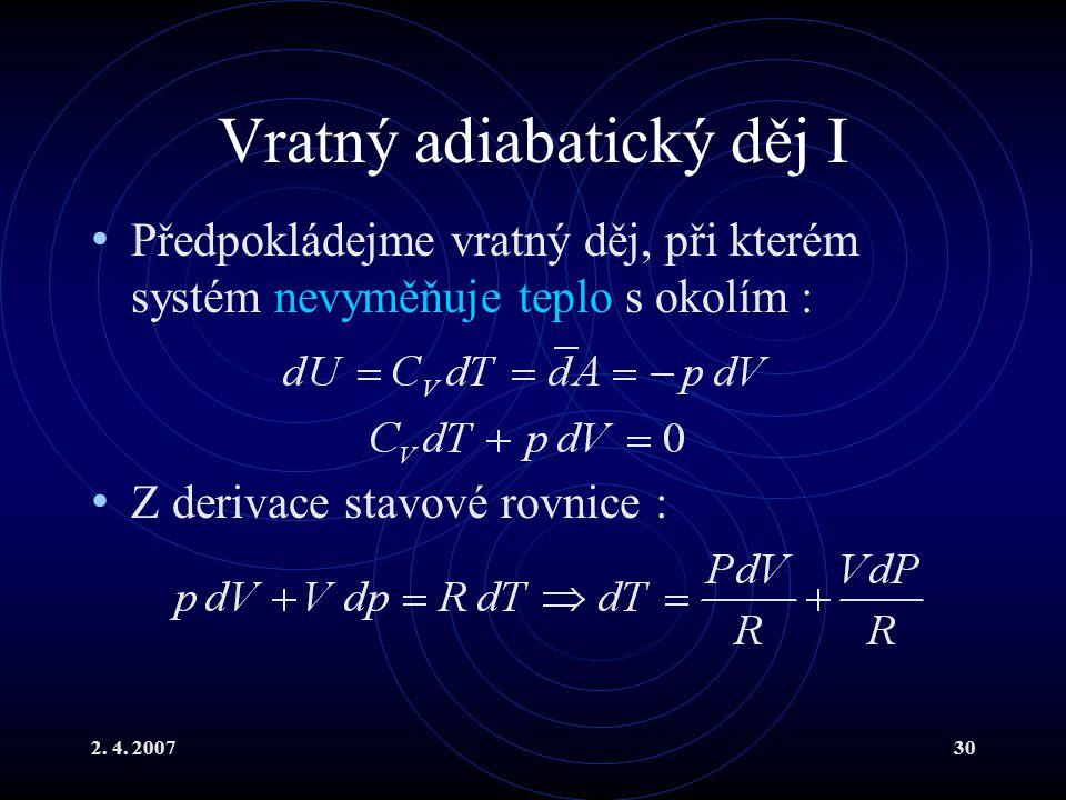 Vratný adiabatický děj I