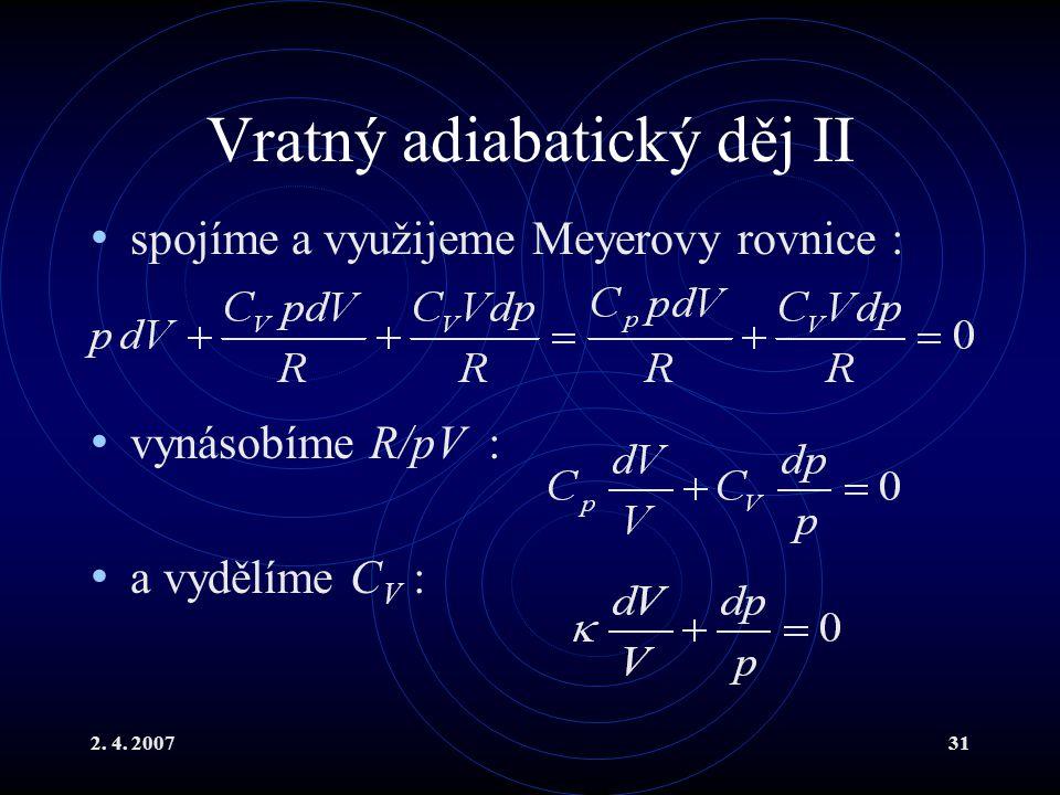 Vratný adiabatický děj II