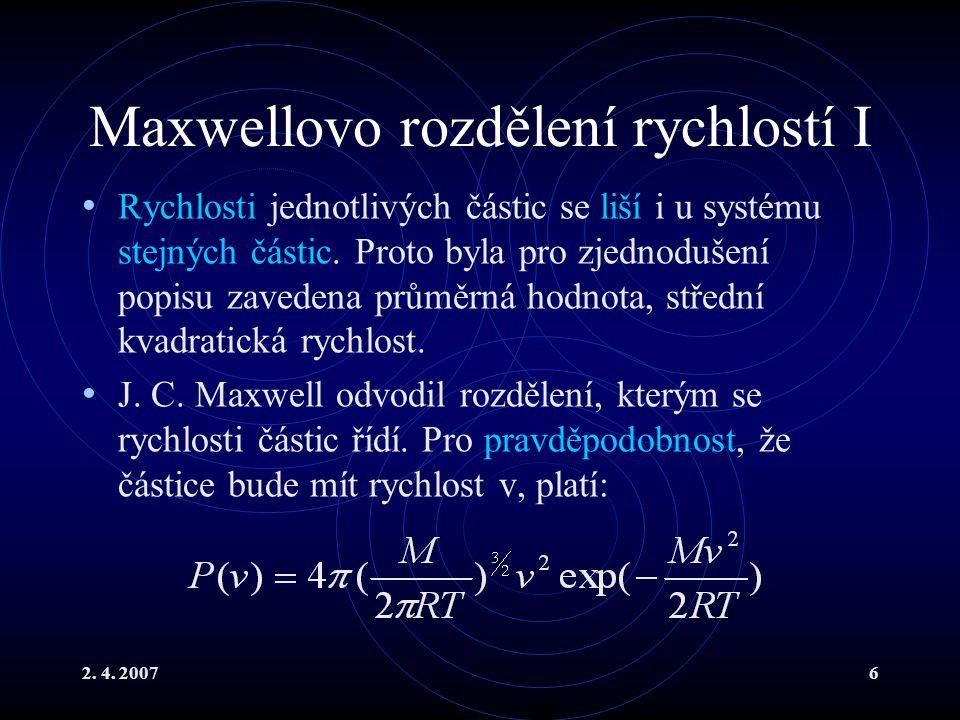 Maxwellovo rozdělení rychlostí I