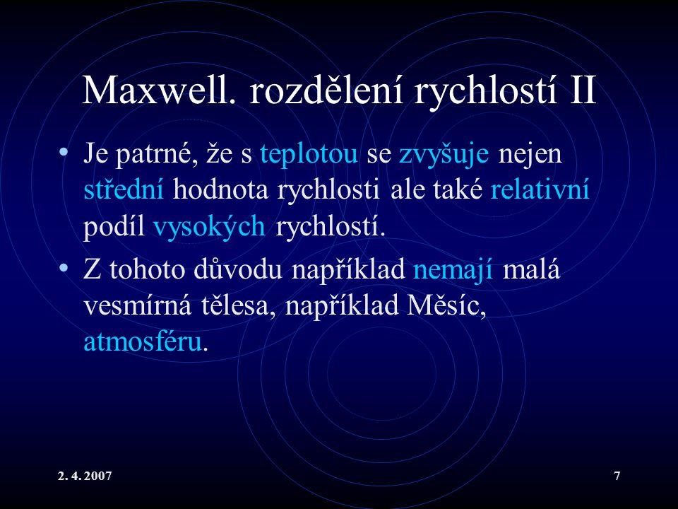 Maxwell. rozdělení rychlostí II