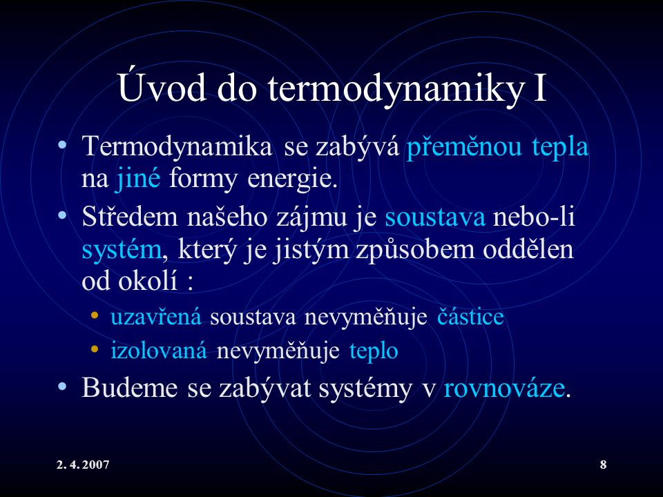 Úvod do termodynamiky I