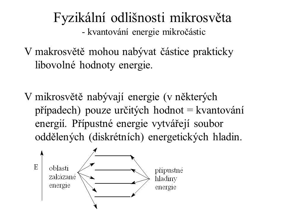 Fyzikální odlišnosti mikrosvěta - kvantování energie mikročástic