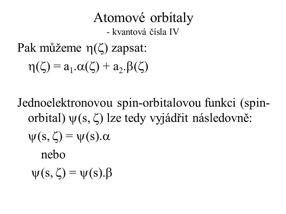 Atomové orbitaly - kvantová čísla IV
