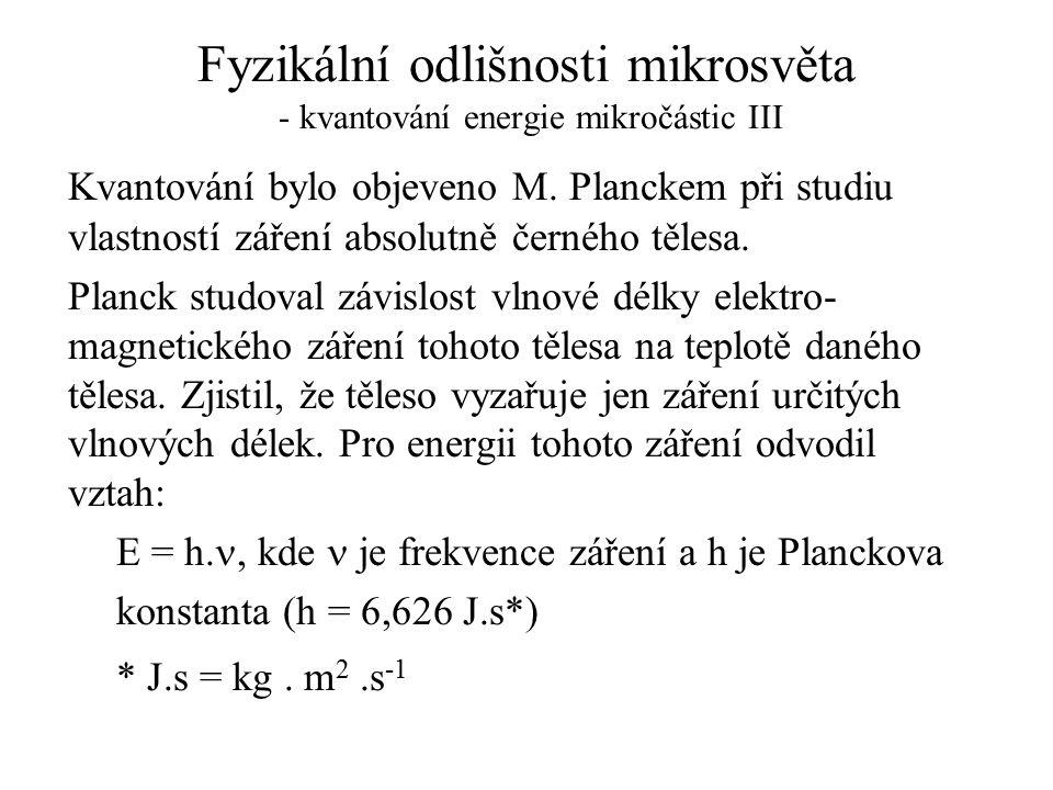 Fyzikální odlišnosti mikrosvěta - kvantování energie mikročástic III