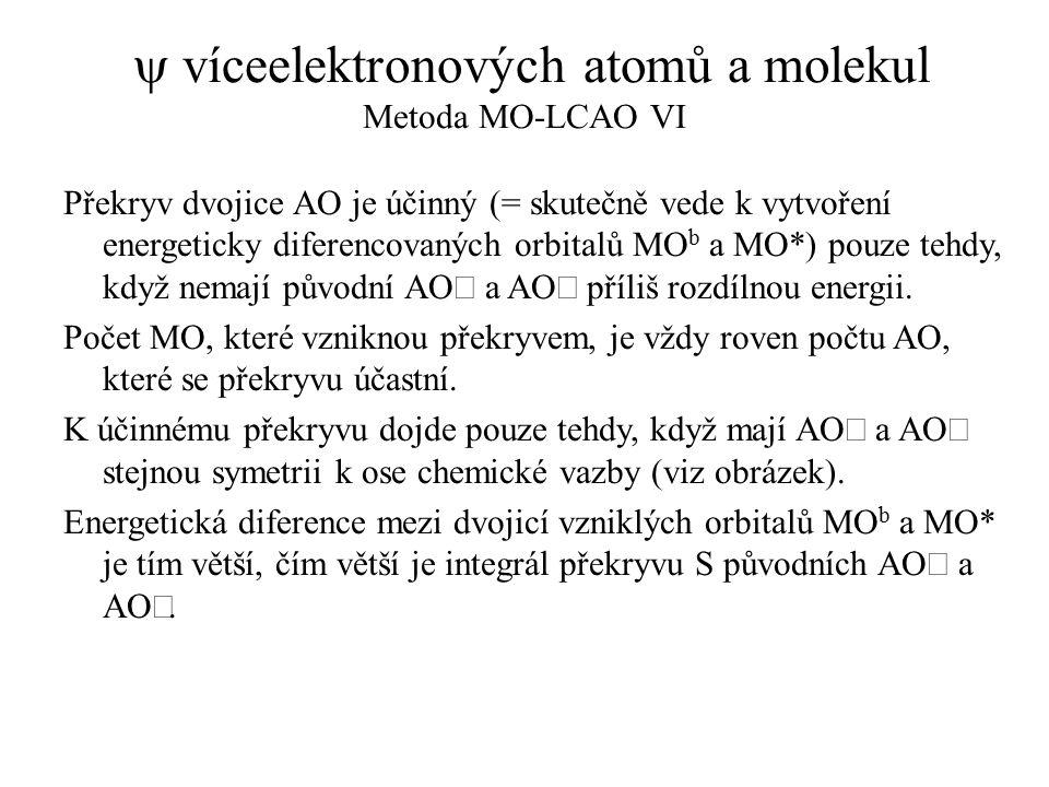 y víceelektronových atomů a molekul Metoda MO-LCAO VI
