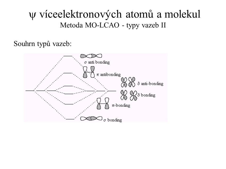 y víceelektronových atomů a molekul Metoda MO-LCAO - typy vazeb II