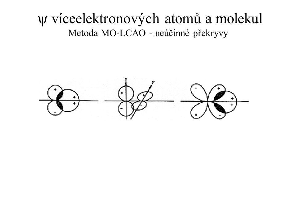 y víceelektronových atomů a molekul Metoda MO-LCAO - neúčinné překryvy