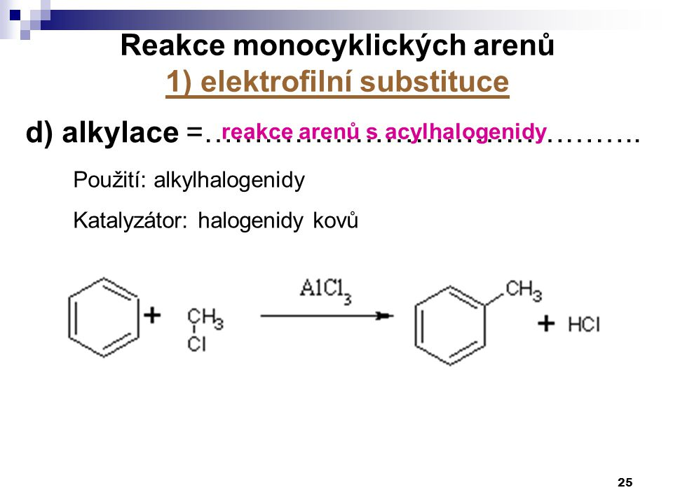 Reakce monocyklických arenů 1) elektrofilní substituce