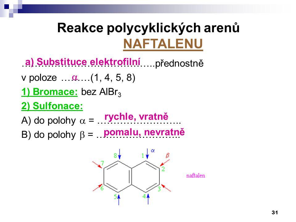 Reakce polycyklických arenů NAFTALENU