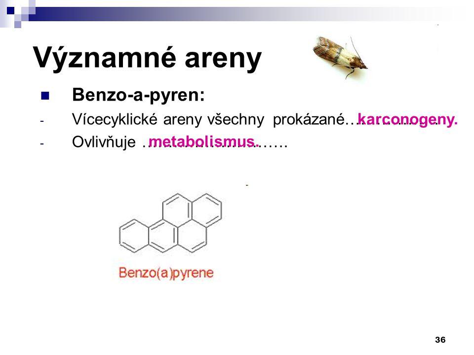 Významné areny Benzo-a-pyren: