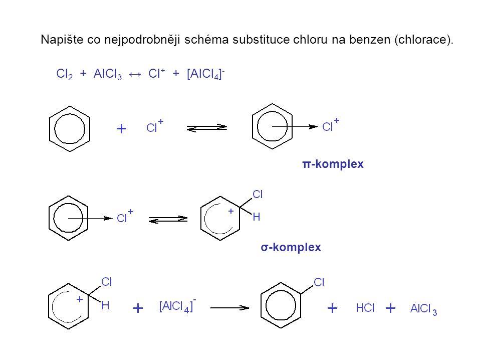Napište co nejpodrobněji schéma substituce chloru na benzen (chlorace).