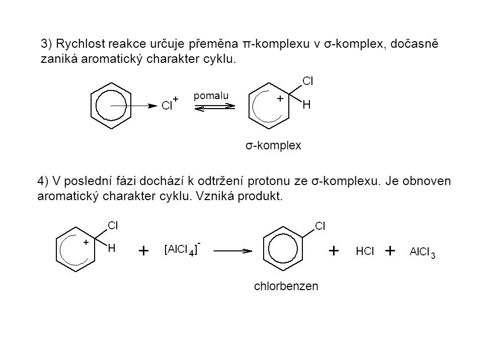 3) Rychlost reakce určuje přeměna π-komplexu v σ-komplex, dočasně zaniká aromatický charakter cyklu.