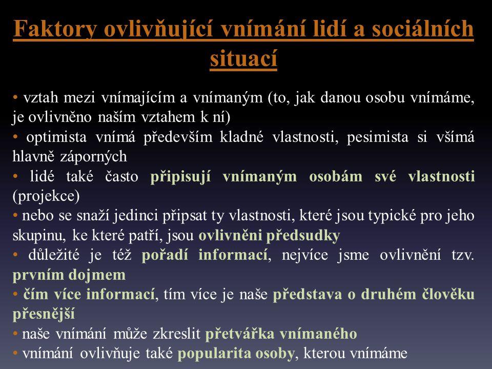 Faktory ovlivňující vnímání lidí a sociálních situací