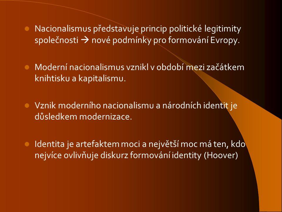 Nacionalismus představuje princip politické legitimity společnosti  nové podmínky pro formování Evropy.