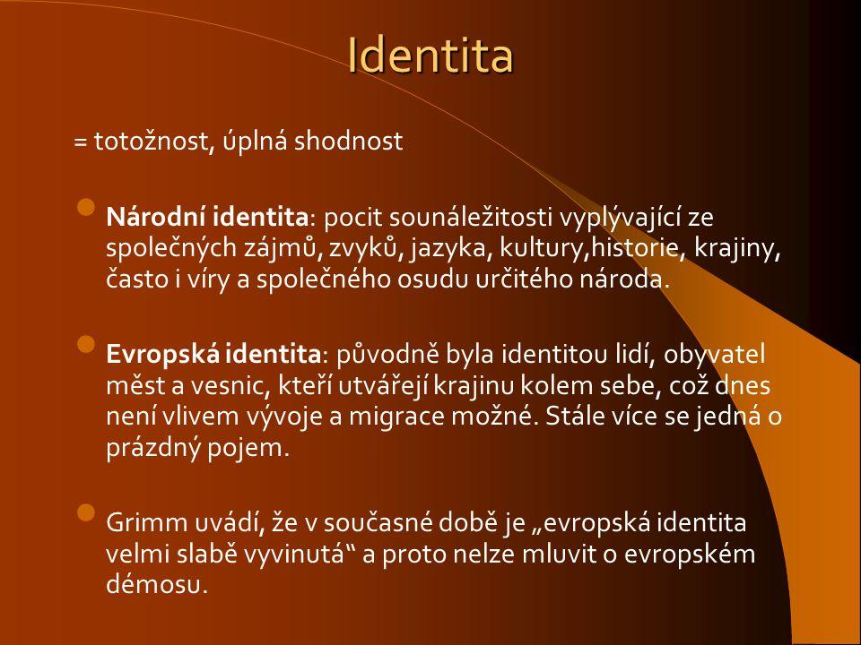 Identita = totožnost, úplná shodnost