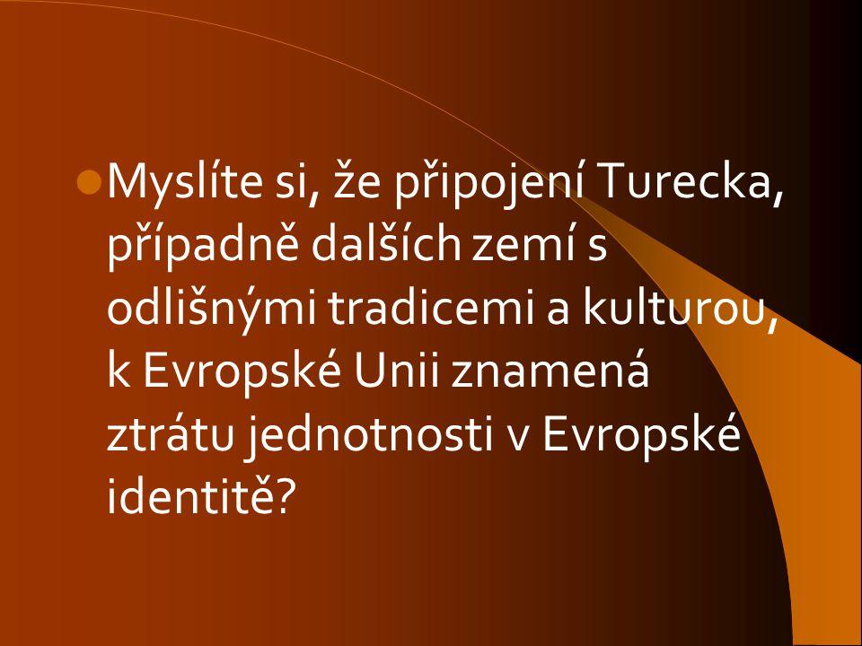Myslíte si, že připojení Turecka, případně dalších zemí s odlišnými tradicemi a kulturou, k Evropské Unii znamená ztrátu jednotnosti v Evropské identitě