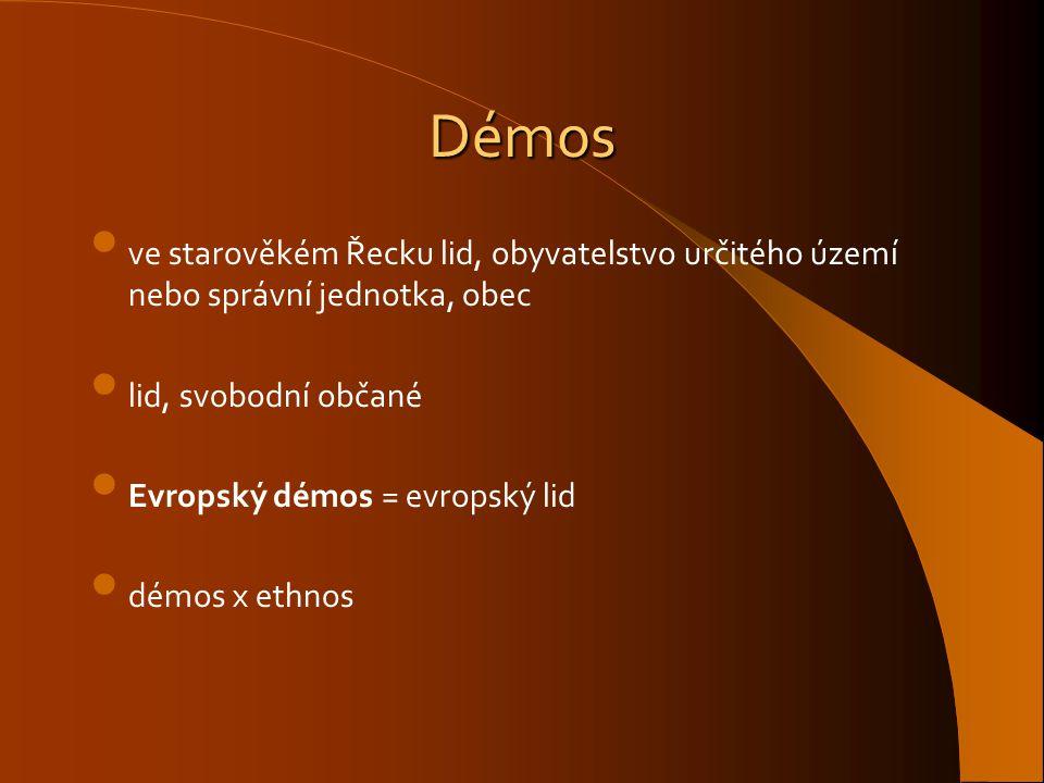 Démos ve starověkém Řecku lid, obyvatelstvo určitého území nebo správní jednotka, obec. lid, svobodní občané.