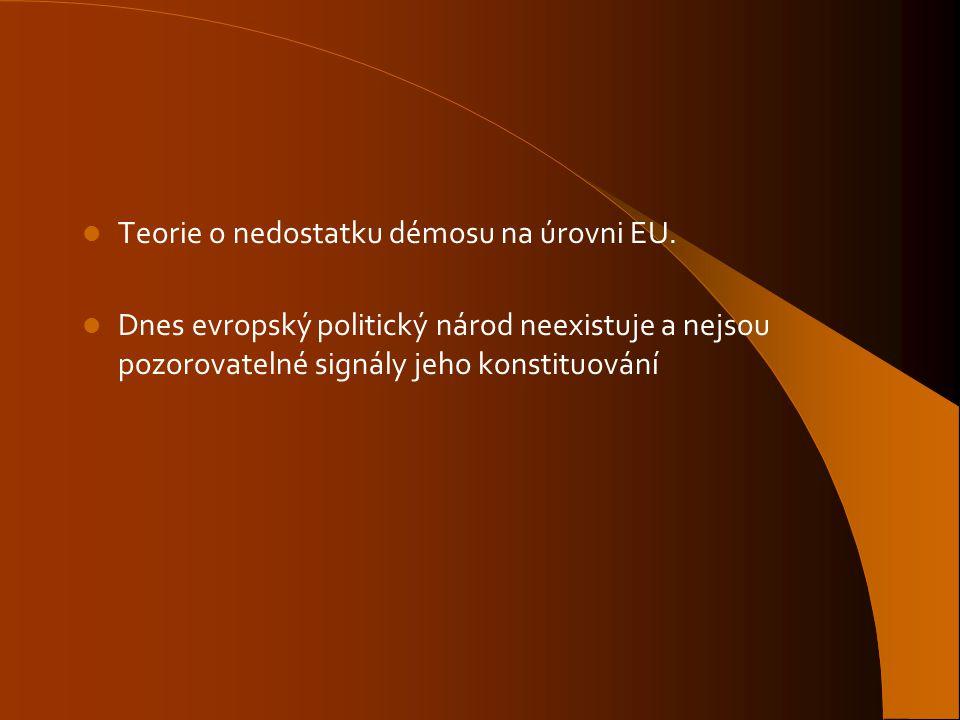 Teorie o nedostatku démosu na úrovni EU.