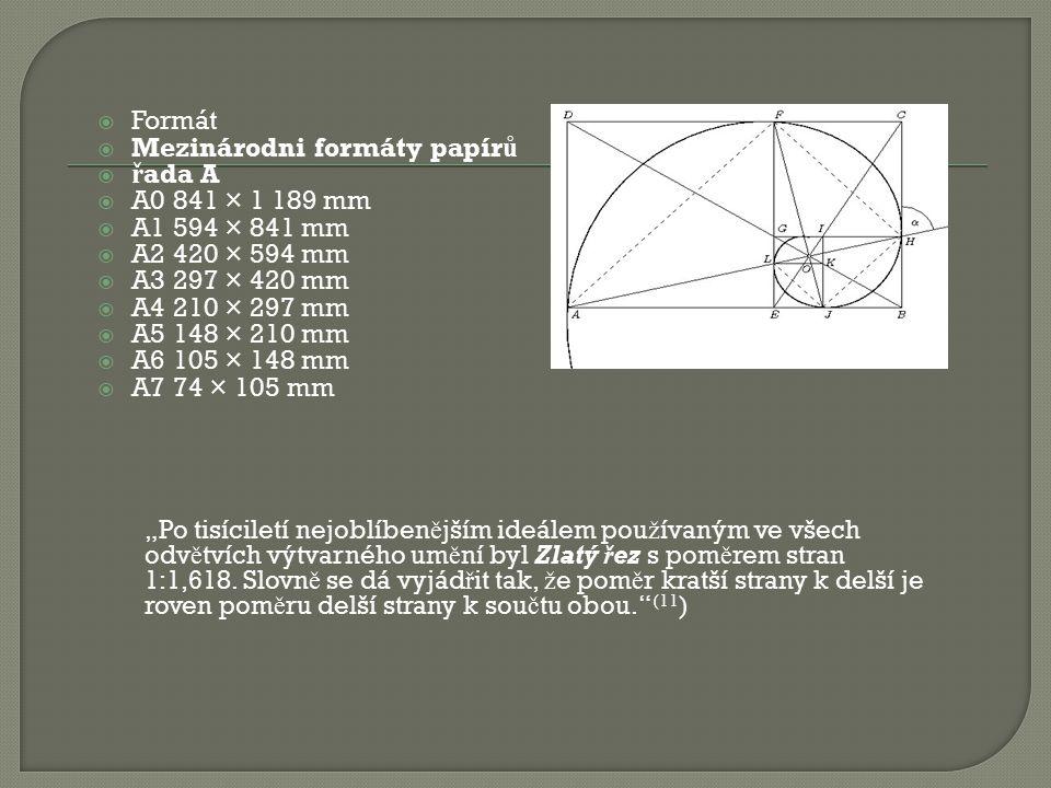 Mezinárodni formáty papírů řada A A0 841 × 1 189 mm A1 594 × 841 mm