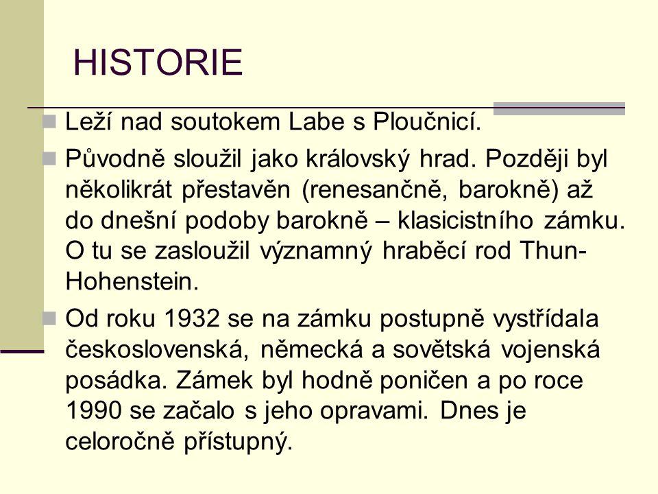 HISTORIE Leží nad soutokem Labe s Ploučnicí.