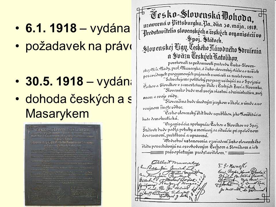 6.1. 1918 – vydána Tříkrálová deklarace