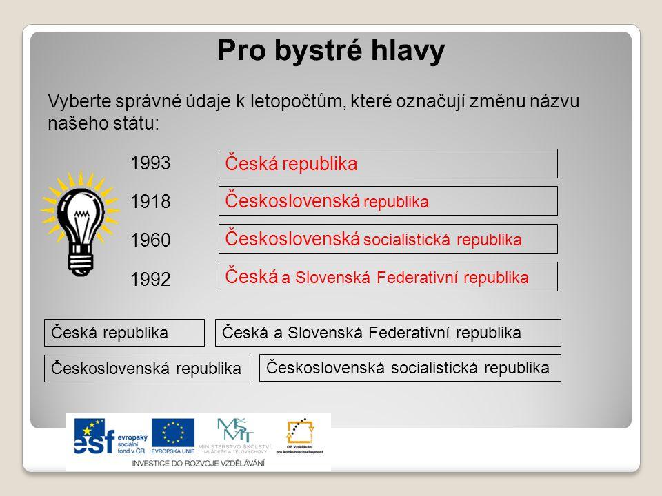 Pro bystré hlavy Vyberte správné údaje k letopočtům, které označují změnu názvu našeho státu: 1993.