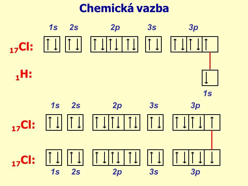 Chemická vazba 17Cl: 1H: 17Cl: 17Cl: 1s 2s 2p 3s 3p 1s 1s 2s 2p 3s 3p