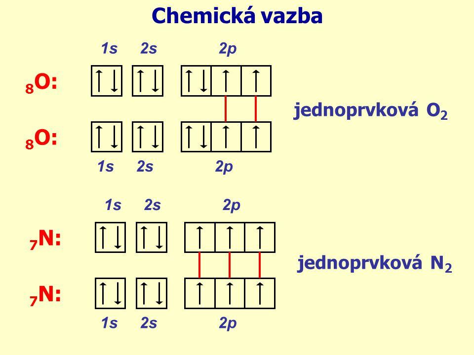 Chemická vazba 8O: 8O: 7N: 7N: jednoprvková O2 jednoprvková N2