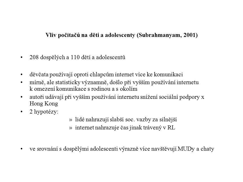 Vliv počítačů na děti a adolescenty (Subrahmanyam, 2001)