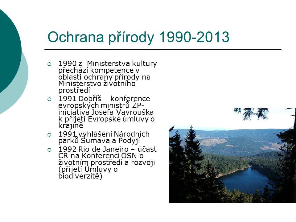 Ochrana přírody 1990-2013 1990 z Ministerstva kultury přechází kompetence v oblasti ochrany přírody na Ministerstvo životního prostředí.