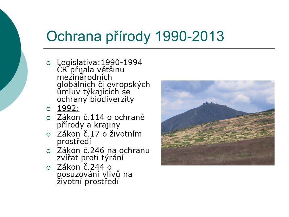 Ochrana přírody 1990-2013 Legislativa:1990-1994 ČR přijala většinu mezinárodních globálních či evropských úmluv týkajících se ochrany biodiverzity.