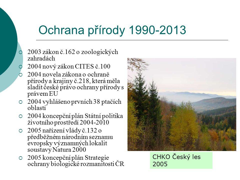 Ochrana přírody 1990-2013 2003 zákon č.162 o zoologických zahradách